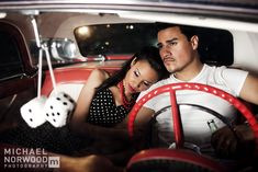 50's themed engagement shoot. Totally something I would do!