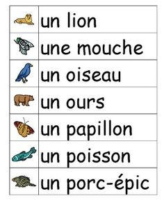 Les animaux - French vocabulary word wall cards
