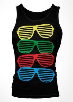 Shutter Shades Girls Tank Top Boy Beater Neon Sunglasses Large Black
