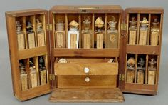 "Antique traveling apothecary kit. ""Silas, the paregoric acid, please."""