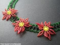 Free Beadweaving Tutorials including spiral beaded variations, flower earrings, Christmas projects, Peyote candle covers, bridged herringbone and peacock earrings, along with videos on beaded seed bead necklace, tubular chenille stitch and Peyote beaded bead.