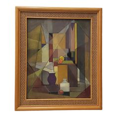 Vintage Mid Modern Geometric Abstract Still Life Oil Painting C.1940s to 1950s | Chairish Abstract Photos, Abstract Photography, Abstract Art, Still Life Oil Painting, Mid Century Modern Art, Abstract Expressionism, 1940s, Vintage, Oil Portrait