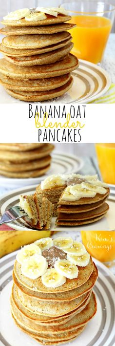 So super easy and yummy- these Banana Oat Blender Pancakes come together in about 5 minutes and are full of nutritious goodness! Youll love them because theyre gluten-free dairy-free and free of refined sugars. Your kiddos will gobble them up because t Clean Eating Breakfast, Free Breakfast, Breakfast Recipes, Pancake Recipes, Breakfast Healthy, Pancake Ideas, Breakfast Ideas, Eating Clean, Brunch Recipes