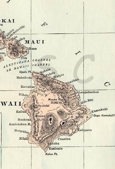 Antique Hawaii Map - Vintage Map - Original 1895 Map of Hawaii - Hawaiian Islands. $29.00, via Etsy.