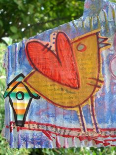 "WALL DÉCOR /CARD MIXED MEDIA CARDBOARD PAINTING ""A LITTLE BIRD TOLD ME…"""