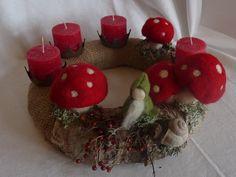 Adventskranz ZAUBERWALD Natur Waldorf Art  von HolzWolle-SpielKunst auf DaWanda.com