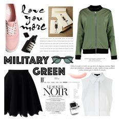 """attention! go army green. <3"" by tatjana ❤ liked on Polyvore featuring Alexander Wang, Chicwish, Vans, Oscar de la Renta, Marc Jacobs, Garance Doré, Sinclair, Ray-Ban, NARS Cosmetics and Gogreen"