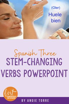 This 63-slide PowerPoint on #SpanishStemChangingVerbs is intended to review and build upon the verbs learned in Spanish Two. The PowerPoint begins with a review of the conjugations of the stem-changing verbs; i-ie, o-ue, e-i, and u-ue and continues with pictorial examples of each stem-changing verb in context. Some Spanish Two verbs are repeated for the purpose of retention and 15 new stem-changing verbs are introduced as well.  #SpanishThree #SpanishClass #SpanishTeachers #SpanishResources Ap Spanish, Spanish Lessons, Spanish Class, French Teacher, Student Engagement, Interactive Notebooks, Lesson Plans, Curriculum, Purpose