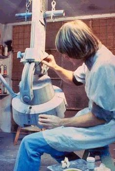 Joe Johnson working on an AT-AT model leg for ESB
