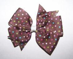 """4"""" Medium Bow- Brown Dot  by clipsbykelley for $4.00"""