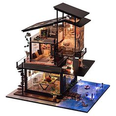 T-Yu Dollhouse DIY Valencia Coastal Villa Doll House Miniature Furniture Kit Collection Gift Sale - Banggood Mobile Layouts Casa, House Layouts, Kit Homes, Diy Dollhouse, Dollhouse Miniatures, Wooden Dollhouse, Model House Kits, Tiny House Design, Miniature Houses