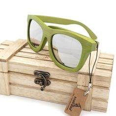 Womens Wood Sunglasses With Coating Mirrored Polarized Lenses Ladies Bamboo Sun Glasses in Wood Box - My Trend Shoppe