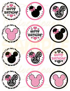 Printable Minnie Mouse Cupcake Toppers 2 inch by RiverMamasDesigns