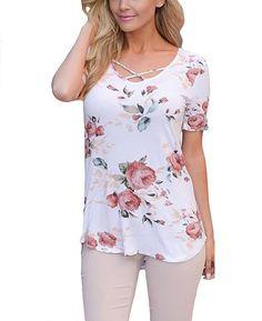Punk flower Print Cross Bandage T-Shirt