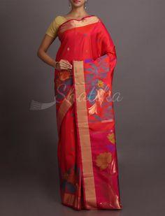 Suamti Royal Red With Royal Peacock Soft #WeddingSilkSaree