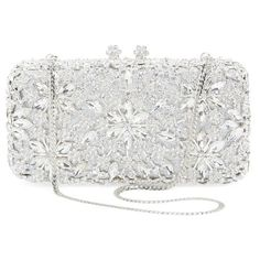 Natasha Couture Crystal Flower Clutch ($298) ❤ liked on Polyvore featuring bags, handbags, clutches, flower handbag, crystal purse, floral print handbags, sparkly purses and chain strap purse
