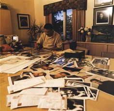 A great deal of Ali's time is spent in his office responding to mail he receives. He's not quick, but his calligraphy is painstaking, and he ad-libs personal messages on almost everything he signs. Esquire