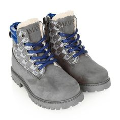 Armani Boys Grey Nubuck Leather Logo Boots