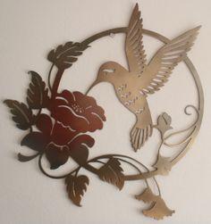 Hummingbird and Flower Metal Sign, Wall decor
