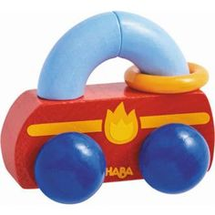 Dieser robuste Holz-Greifling begeistert Babys mit seinen fröhlichen Farben sowie den klappernden Kunststoffring. Baby Center, Red And Blue, Personal Care, Pillows, Products, Form, Material, Autos, Happy Colors