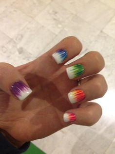 Colorful nailart green purple orange pink yellow and blue nails