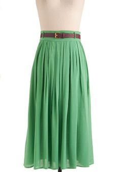 Swish and Spin Skirt in Green - Long, Green, Solid, Casual, Belted, Pleats, Holiday Sale