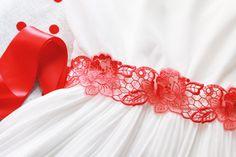 Red Embroidery Lace Rose Flower Satin Sash Belt by NAFEstudio