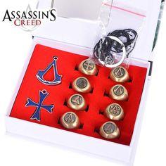 Assassins Creed Rings & Pendant Box Gifts 10pcs/set //Price: $25.00 & FREE Shipping //     #love