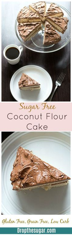 Sugar Free Coconut Flour Cake - a two layer vanilla flavored coconut flour cake that is gluten free, grain free, low carb, and high in fiber. This recipe makes two cakes so make sure to half the recipe if you only want one cake!