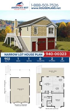 Plan 940-00323 details a Narrow Lot home design offering 902 sq. ft., 1 bedroom, 1 bathroom, a kitchen island, an open floor plan, vaulted ceilings, and a 2 car garage. #narrowlot #architecture #houseplans #housedesign #homedesign #homedesigns #architecturalplans #newconstruction #floorplans #dreamhome #dreamhouseplans #abhouseplans #besthouseplans #newhome #newhouse #homesweethome #buildingahome #buildahome #residentialplans #residentialhome Narrow Lot House Plans, Best House Plans, Dream House Plans, Kids Bedroom Designs, Blue Prints, Vaulted Ceilings, City Living, Open Floor, Car Garage