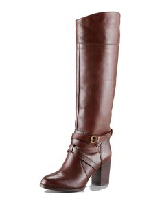 """7 for All Mankind Serita Strappy Leather Boot 10m. Leather upper. Wraparound ankle-strap with brass buckle. Arced top shaft. 3 1/4"""" stacked block heel; 1/4"""" platform. Approx. 16"""" overall boot height; 14 1/2"""" circumference."""
