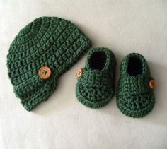 Baby Newsboy Button Beanie Hat and Shoes Loafers Baby Boy Crochet Knit Set