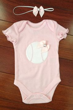Pink Baseball Onesie & Matching Headband  by PinkPosieCouture, $20.00