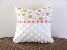 pink pillow cover SPRING DAISIES 14 X 14 by moreChenilleChateau