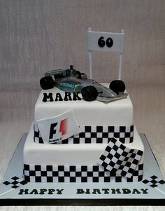 Grand Prix themed cake for 60th birthday- edible handmade racing car topper by Baking Angel