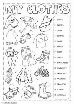 The clothes - Listening Language: English Grade/level: Elementary School subject: English as a Second Language (ESL) Main content: Clothes Other contents: clothing English Activities For Kids, Learning English For Kids, English Lessons For Kids, English Worksheets For Kids, Kids English, Learn English, Esl Worksheets For Beginners, English Class, English English