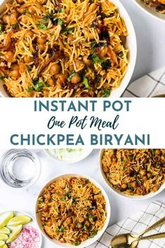 Chickpea Biryani - Easy and wholesome, vegetarian Biryani with plump chickpeas cooked in caramelized onions and spices over fragrant basmati rice. Paired with a cooling cucumber raita and squeeze of fresh lime, this biryani makes a hearty meal. #ministryofcurry #instantpot Veggie Recipes Healthy, Healthy Indian Recipes, Easy Chicken Recipes, Arabic Recipes, Veggie Food, Vegan Recipes, Instant Pot Pressure Cooker, Pressure Cooker Recipes, Indian Appetizers