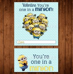 Printable Despicable Me Minion Valentine Tags & by AtkinsonDrive