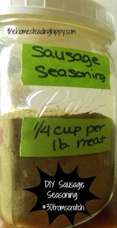 DIY Sausage Seasoning - The Homesteading Hippy cup salt cup dried sage cup dried thyme cup brown sugar (or you could use sucanat, like I did here) 3 tsp black pepper 3 tsp rosemary 1 tsp chili powder (more if you like yours spicy) Homemade Sausage Recipes, Homemade Spices, Homemade Seasonings, Pork Recipes, Cooking Recipes, Homemade Turkey Sausage, Homemade Dry Mixes, Ground Turkey Sausage, Deer Recipes