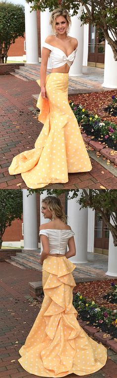 2018 two piece long prom dress, white and yellow polk dots prom dress, off the shoulder two piece mermaid long prom dress graduation dress