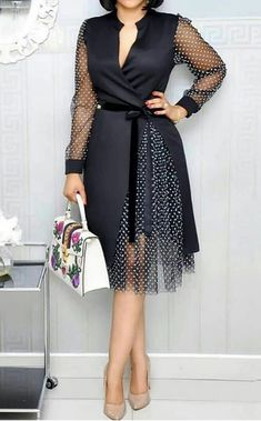 Lovely Sweet Patchwork Black Knee Length Dress Comfort clothing for women staying at home. Unique Dresses, Simple Dresses, Cheap Dresses, Casual Dresses, Dresses For Work, African Fashion Dresses, African Dress, Fashion Outfits, Ladies Day Dresses