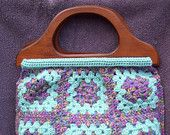 Crocheted Granny Square Tote / Bag / Purse / Lined / Aqua / Variegated / Wooden Handles