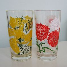 Such sweet vintage glassware!!! I have two of the red and am on the lookout for more. Would love to have the yellow also!