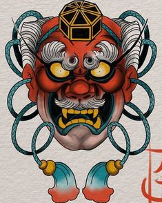 Blue Variation up for grabs Japanese Mask Tattoo, Japanese Tattoo Designs, Japanese Sleeve Tattoos, Full Sleeve Tattoos, Tengu Tattoo, Hanya Tattoo, Tattoo Sketch Art, Tattoo Ink, Arm Tattoo