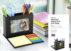 Folding Photo Desk Caddy Fold-out stationery and holds a photo. perfect for an office desk. Brand Innovation Supplies Corporate and promotional items in South Africa. Cool Stationery, Stationery Items, Corporate Outfits, Corporate Gifts, Office Branding, Business Branding, Brand Innovation, Desk Gifts, Desk Caddy