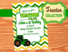 TRACTOR Party - Tractor INVITATION - Farm Party - Tractor Birthday - jOHN DEERE - JOHN DEER PARTY - JOHN DEERE BIRTHDAY PARTY