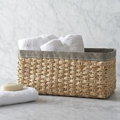 Large Woven Bin with Grey Trim in Storage Baskets & Bins | Crate and Barrel