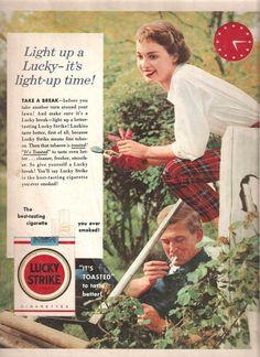 1955 LUCKY STRIKE CIGARETTE AdvertisementVintage by BorderLineArt, $5.00