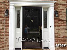 Yesterday we had our new Pella front door, sidelights and storm door installed. Let's look at our old builder's special door. Black Entry Doors, Black Exterior Doors, Exterior Doors With Sidelights, Exterior Paint, Front Door With Screen, Double Front Doors, Side Door, Pella Doors, Door Redo