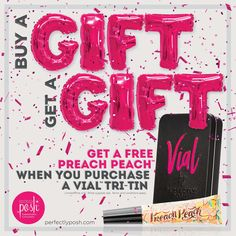 Day 4: Get a FREE Preach Peach Lip Oil when you purchase a Vial Tri Tin!! 💋 Customize your tin with your choice of a primer and 2 colors OR a primer, color, and gloss!! Don't forget we've got that NEW Glitterati Top Coat just in time for the Holidays!! Ladies, treat yourself today and get a FREE gift!! Https://mbarquero.po.sh